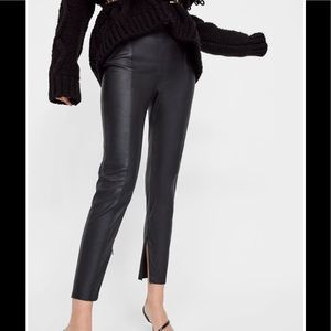 Zara Vegan Leather Pant Black M